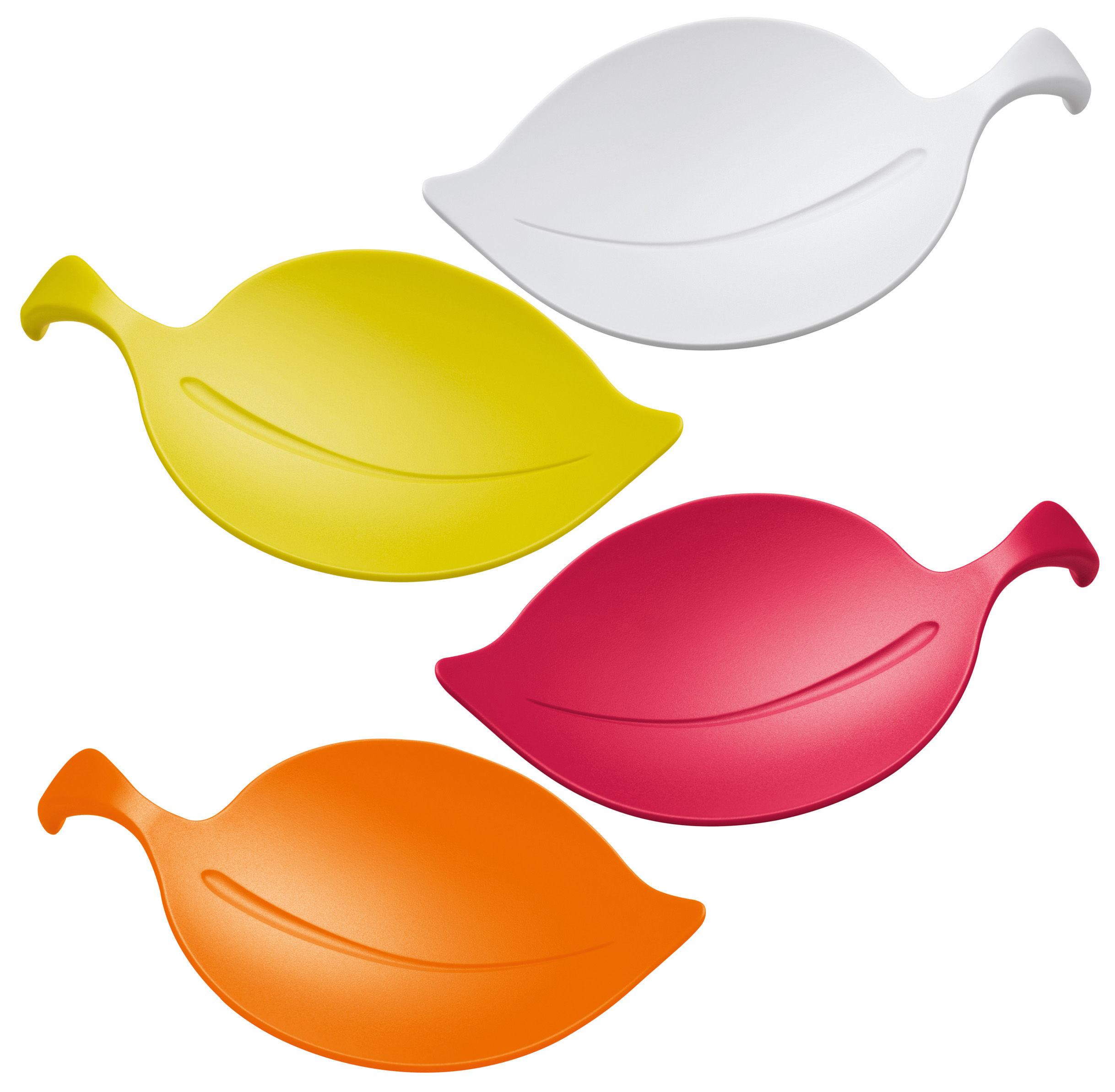 Tableware - Bowls - Leaf-on Small dish - Set of 4 by Koziol - White / mustard green / raspberry red /orange - Plastic