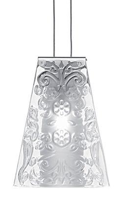 Illuminazione - Lampadari - Sospensione Vicky di Fabbian - Vetro trasparente /decori in rilievo - Metallo cromato, Vetro