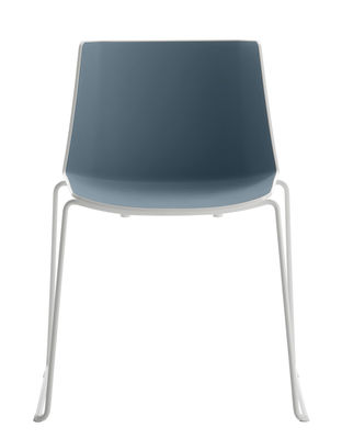 Furniture - Chairs - Aiku Stacking chair - / Sled base by MDF Italia - White & pastel blue inside / White legs - Painted steel, Polypropylene