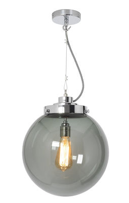 Suspension Globe Medium / Ø 30 cm - Verre soufflé - Original BTC chromé,anthracite en métal