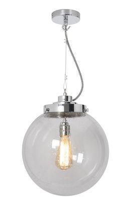 Suspension Globe Medium / Ø 30 cm - Verre soufflé - Original BTC chromé,transparent en métal