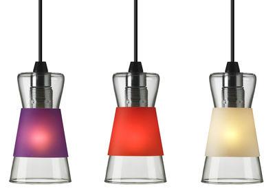 Luminaire - Suspensions - Suspension Pure / Avec 3 bagues colorées interchangeables - Authentics - Bagues : Violet, Rouge, Blanc - Polypropylène, Verre