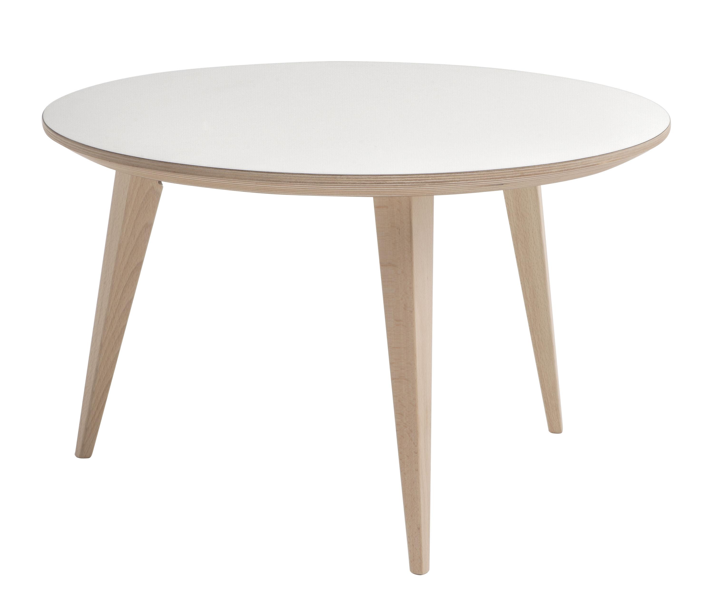Table Basse Bob Ondarreta Blanc Pieds Bois H 45 X O 70 Made