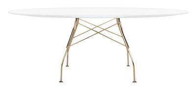 Mobilier - Tables - Table ovale Glossy Glass / 194 x 120 cm - Verre - Kartell - Blanc / Pied chromé - Acier chromé, Verre