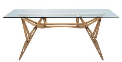 Tendances - Espace Repas - Table rectangulaire Reale / Bois & Verre - 90 x 200 cm - Zanotta - Chêne naturel / Plateau verre - Chêne, Verre