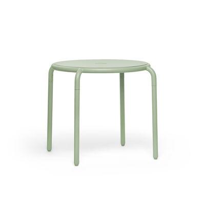Outdoor - Tables de jardin - Table ronde Toní Bistreau / Ø 80 cm - Trou pour parasol + bougeoir amovible - Fatboy - Vert - Aluminium