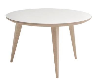 Arredamento - Tavolini  - Tavolino basso Bob / Ø 70 cm - Ondarreta - Bianco / gambe legno - Faggio, Multistrato di betulla, Stratificato