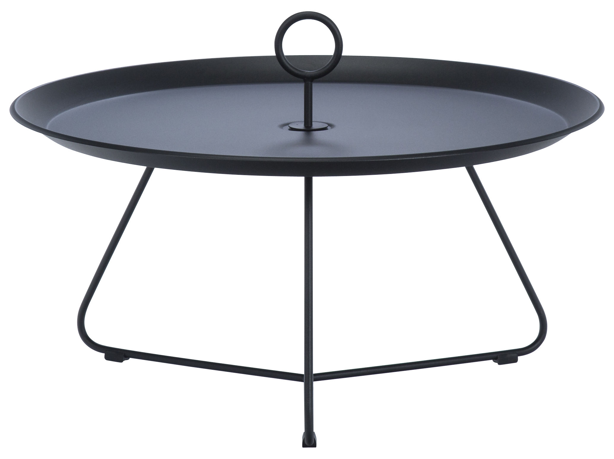Arredamento - Tavolini  - Tavolino basso Eyelet Large / Ø 80 x H 35 cm - Houe - Nero - Metallo rivestito in resina epossidica