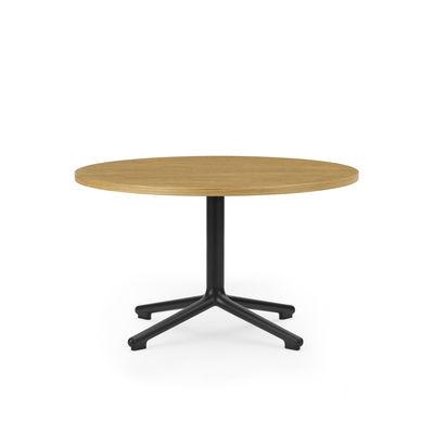 Arredamento - Tavolini  - Tavolino Lunar - / Ø 70 x H 40 cm - Rovere naturale di Normann Copenhagen - Rovere naturale / nero - Compensato di rovere, Ghisa di alluminio tinta