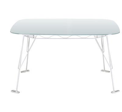 Arredamento - Tavoli - Tavolo quadrato Eus - 115 x 115 cm - Top vetro di Eumenes - Struttura bianca / Top in cristallo acidato - Acciaio verniciato, Vetro acidato