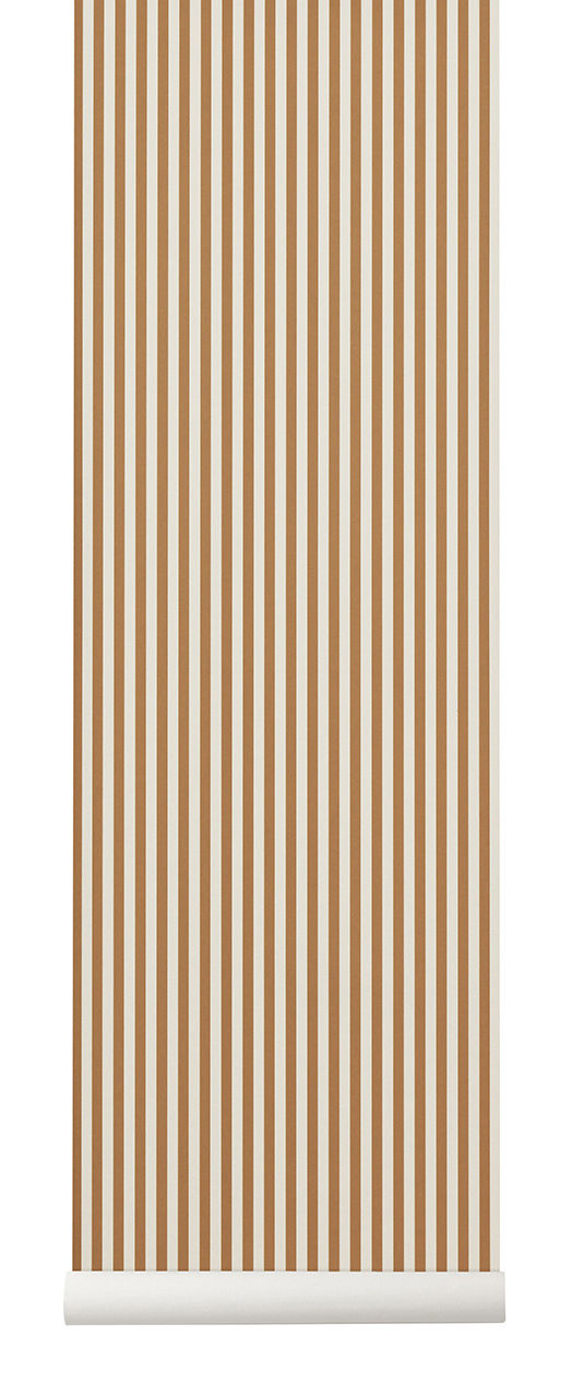 Decoration - Wallpaper & Wall Stickers - Thin Lines Wallpaper - / 1 roll - Width 53 cm by Ferm Living - Mustard & beige - Non-woven fabric