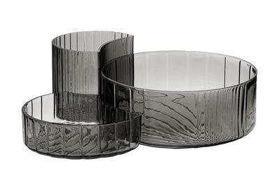 Bol Concha / Set de 3 - AYTM noir transparent en verre