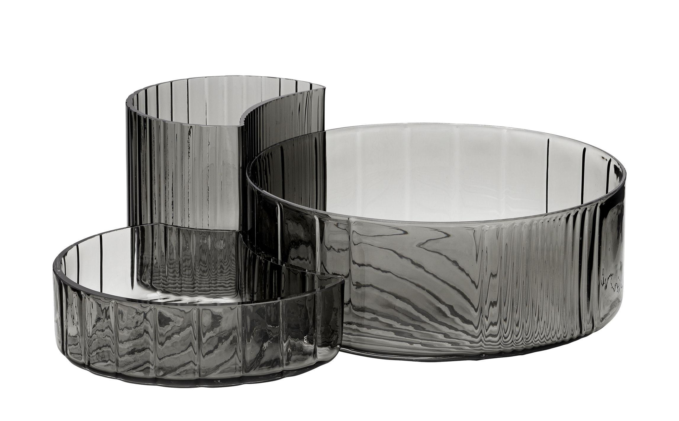 Arts de la table - Saladiers, coupes et bols - Bol Concha / Set de 3 - AYTM - Noir transparent - Verre