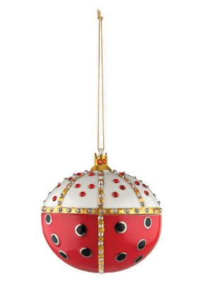 Boule de Noël Faberjorì / Re Coccinello - Porcelaine peinte main - Alessi blanc,rouge,or en céramique