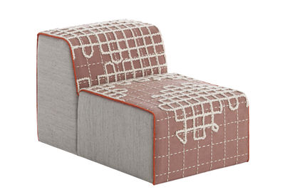Canapé modulable Bandas / Chauffeuse - L 95 cm - Gan blanc,rose,gris en tissu