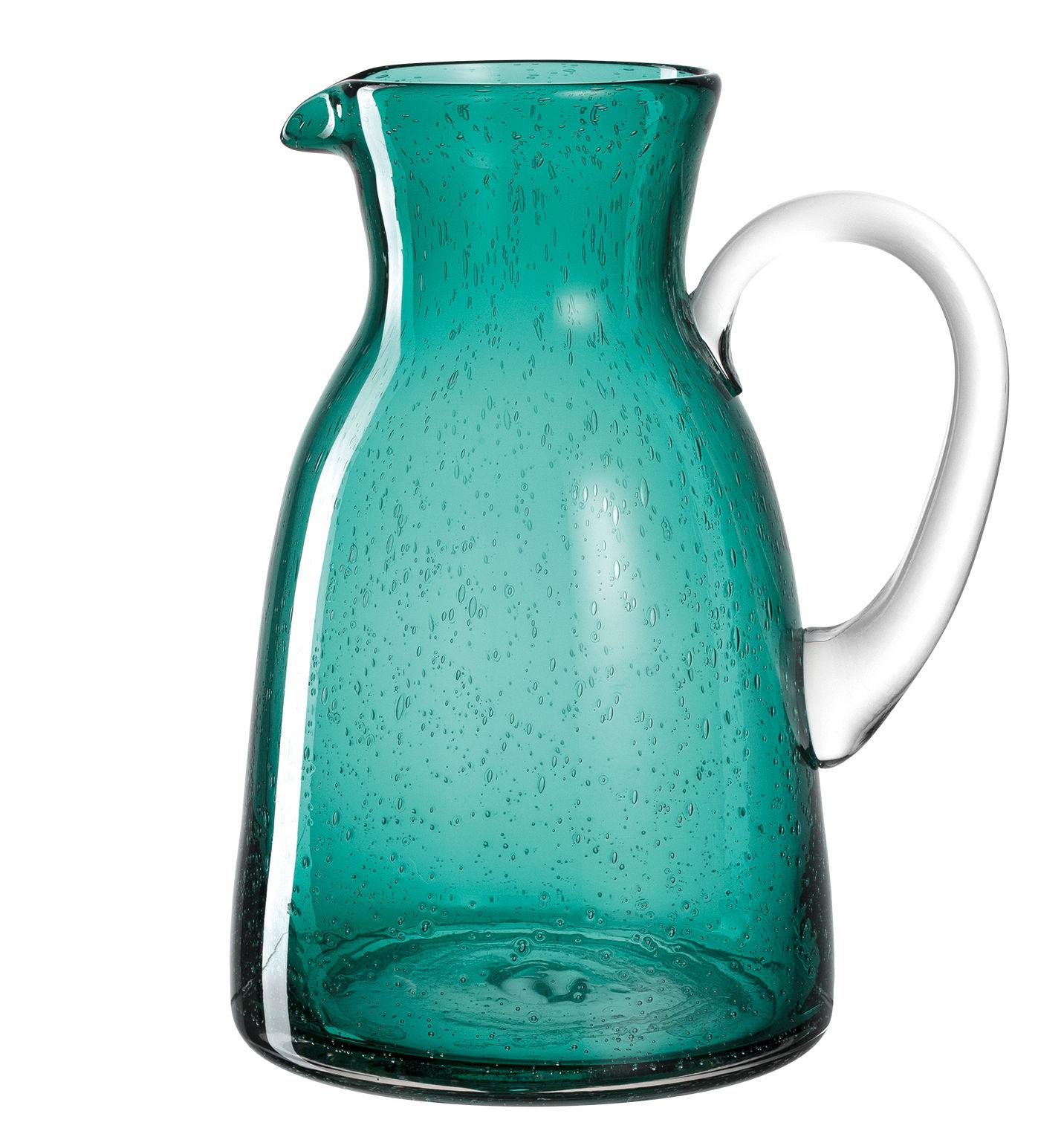 Tableware - Water Carafes & Wine Decanters - Burano Carafe - / 1,7 L - Fait main by Leonardo - Bleu vert lagune - Bubbled glass