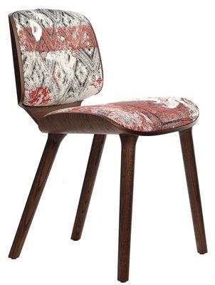 Mobilier - Chaises, fauteuils de salle à manger - Chaise rembourrée Nut Dining - Moooi - Tissu tons rouges / Bois cannelle - Chêne massif, Contreplaqué de chêne, Mousse, Tissu