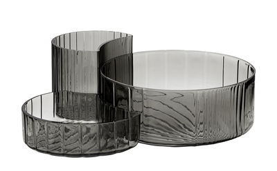 Tavola - Ciotole - Ciotola Concha - / Set da 3 di AYTM - Nero trasparente - Vetro