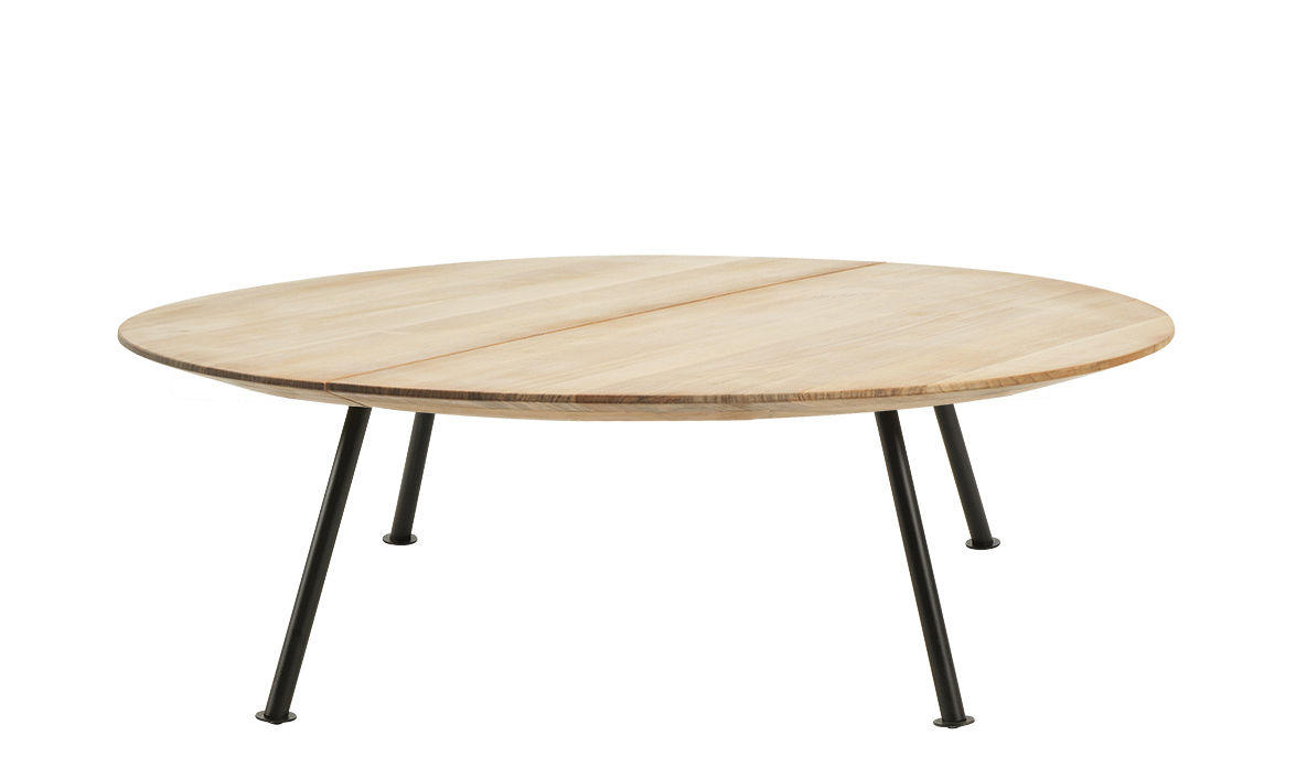 Furniture - Coffee Tables - Agave Coffee table - / Ø 110 cm by Ethimo - Teak & black - Lacquered metal, Natural teak