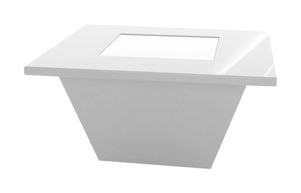 Möbel - Couchtische - Bench Couchtisch Tischplatte aus Glas - Korpus lackiert - Slide - Weiß lackiert - Glas, Recycelbares Polyethylen lackiert
