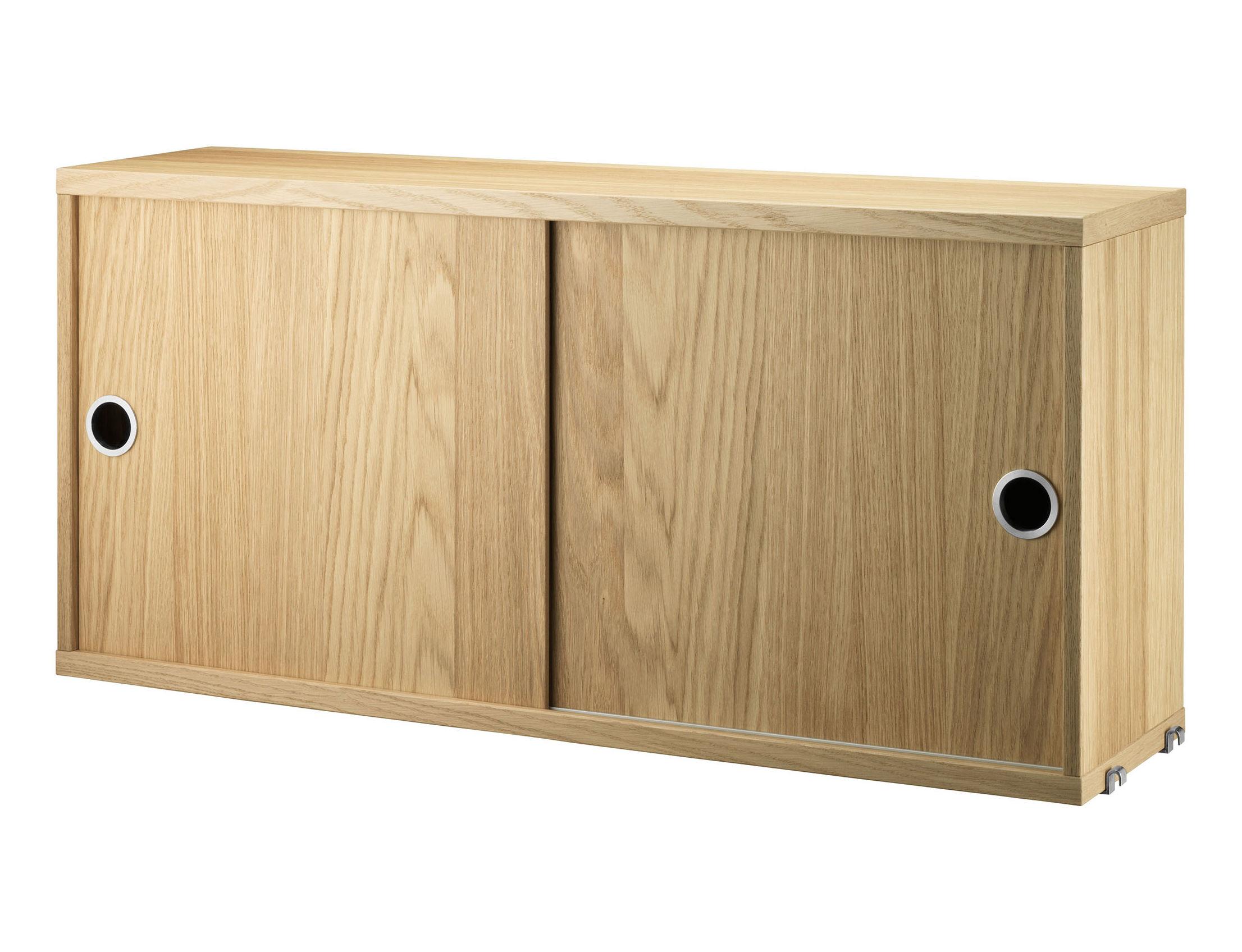 Furniture - Bookcases & Bookshelves - String System Crate - / 2 doors - L 78 x D 20 cm by String Furniture - Oak - Oak plywood