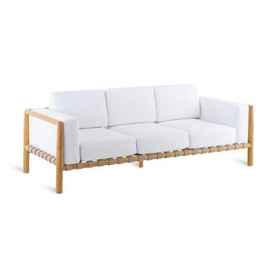 Arredamento - Divani moderni - Divano destro Pevero - / 3 posti - L 200 cm / Teak - Senza cuscino di Unopiu - Divano / Teak - Teck, Tessuto