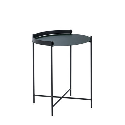 Furniture - Coffee Tables - Edge End table - / Folding handle -Ø 46 x H 53 cm by Houe - Fir Tree Green / Black - Thermolacquered metal
