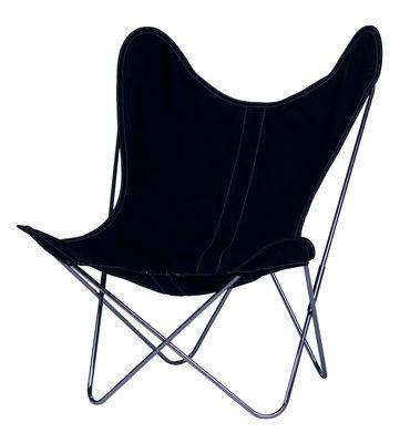 Chaise AA Butterfly toile / Structure chromée - AA-New Design bleu nuit en tissu