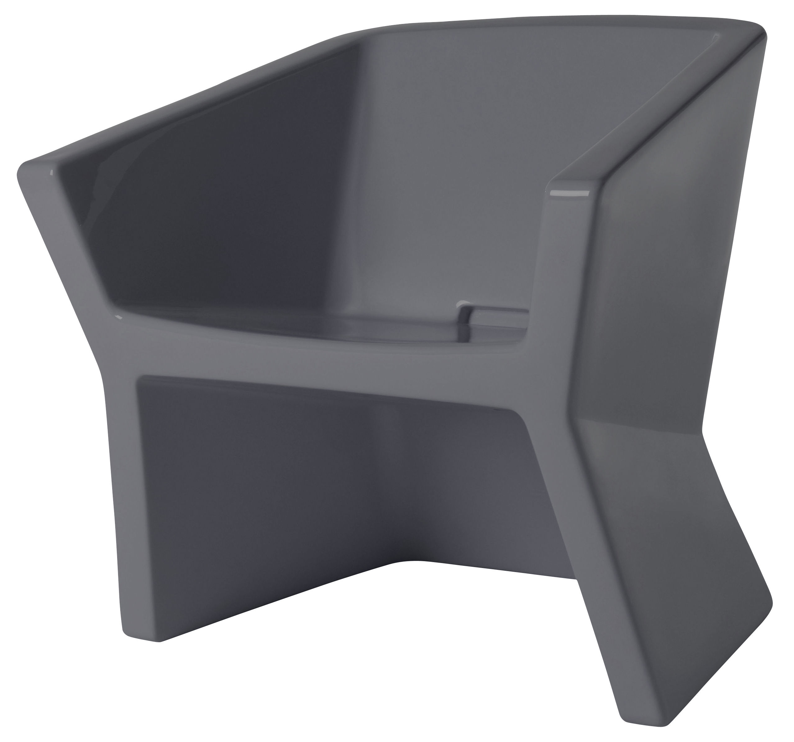 Mobilier - Chaises, fauteuils de salle à manger - Fauteuil Exofa / Plastique - Slide - Gris anthracite - polyéthène recyclable