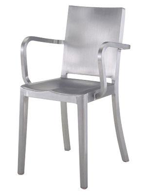 Mobilier - Chaises, fauteuils de salle à manger - Fauteuil Hudson Outdoor / Alu brossé - Emeco - Alu brossé (outdoor) - Aluminium brossé recyclé