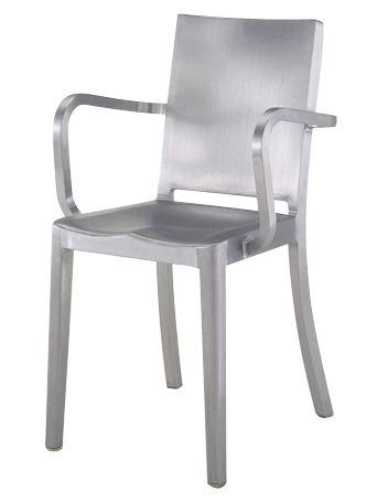 Mobilier - Chaises, fauteuils de salle à manger - Fauteuil Hudson Outdoor / Alu brossé - Emeco - Alu brossé (outdoor) - Aluminium brossé