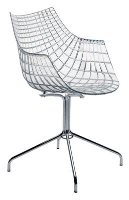 Mobilier - Chaises, fauteuils de salle à manger - Fauteuil Meridiana / Polycarbonate transparent - Driade - Transparent - Acier chromé, Polycarbonate
