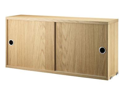Möbel - Regale und Bücherregale - String® System Kiste / 2 Türen - L 78 cm x T 20 cm - String Furniture - Eiche - Eichenholzfurnier
