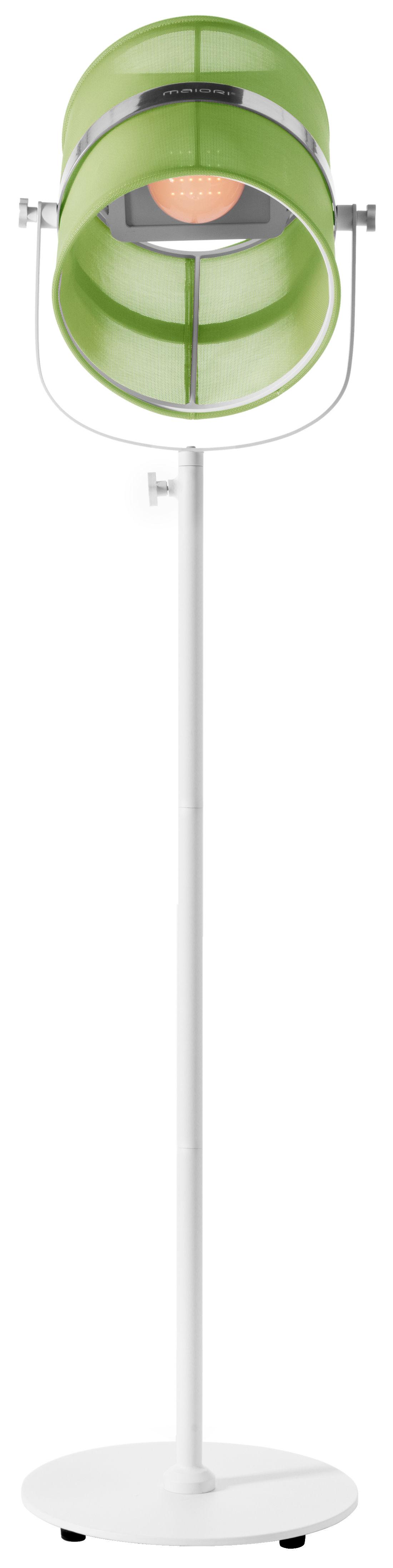 Luminaire - Lampadaires - Lampadaire solaire La Lampe Paris LED / Sans fil - Dock USB - Maiori - Vert prairie / Pied blanc - Aluminium peint, Tissu