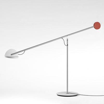 Luminaire - Lampes de table - Lampe de table Copérnica / H 60 cm - Marset - Nickel / Blanc & rouge - Acier, Aluminium, Nickel