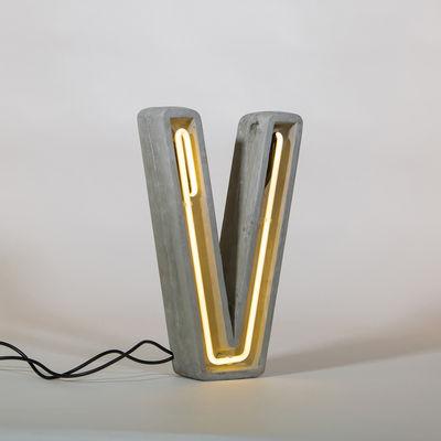 Lampe de table Néon Alphacrete / Lettre V - Intérieur / extérieur - Seletti blanc,gris en pierre