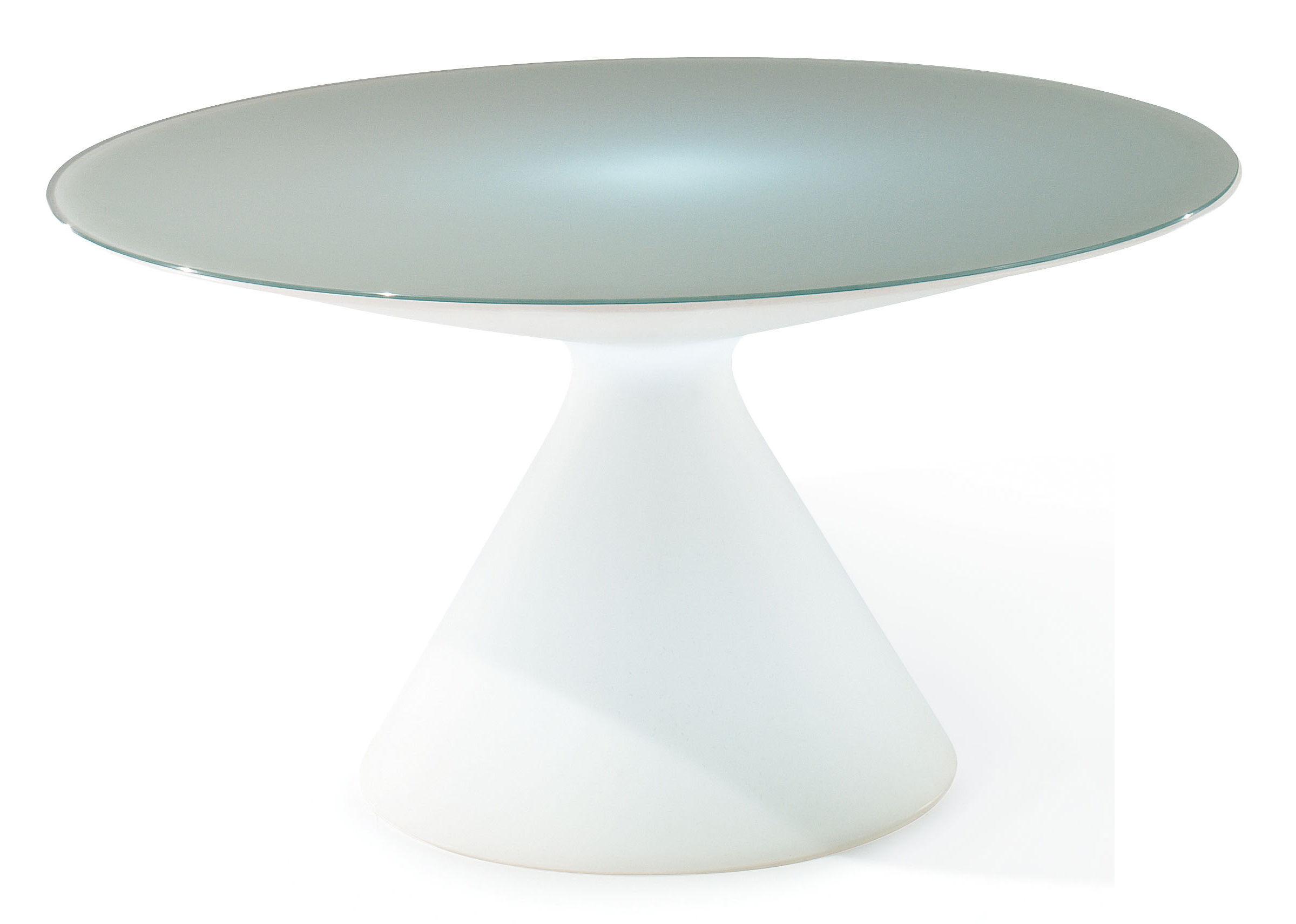 Möbel - Leuchtmöbel - Ed leuchtender Tisch - Slide - Weiß - Glas, Polyéthylène recyclable