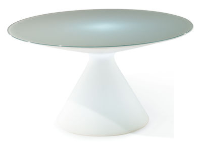 Furniture - Illuminated Furniture & Light UP Tables - Ed Luminous table by Slide - White - Glass, Polyéthylène recyclable