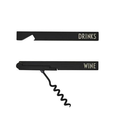 Arts de la table - Bar, vin, apéritif - Ouvre-bouteille Arne Jacobsen / & Tire-bouchon - Design Letters - Noir / Inscriptions blanches - Acier inoxydable plaqué