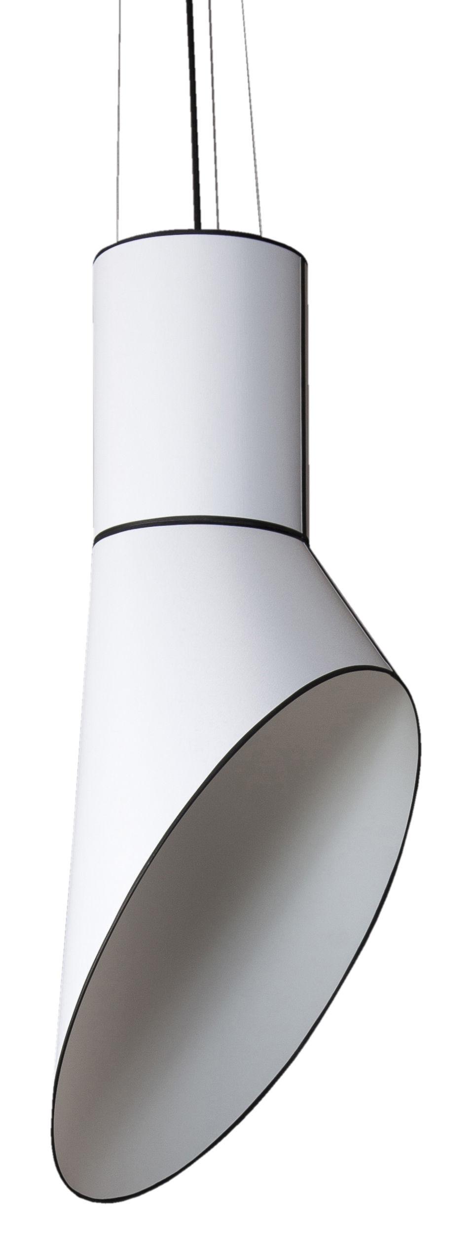 Leuchten - Pendelleuchten - Grand Cargo Pendelleuchte H 117 cm - Designheure - Zylinder-Element weiß / Schornstein-Element weiß - Percaline de coton, PVC, Stahl
