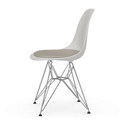 Arredamento - Sedie  - Sedia DSR - Eames Plastic Side Chair - / (1950) - Cuscino da seduta di Vitra - Bianco / Cuscino avorio - Acciaio, Polipropilene, Schiuma di poliuretano, Tessuto
