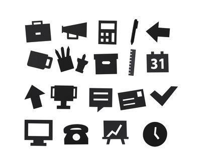 Déco - Mémos, ardoises & calendriers - Set Symboles Office / pour tableau perforé - Design Letters - Noir - ABS, Polyméthacrylate de méthyle