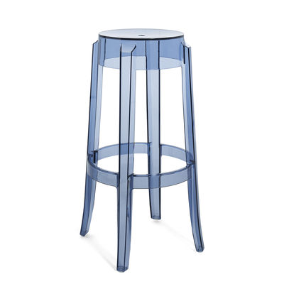 Furniture - Bar Stools - Charles Ghost Stackable bar stool - / H 75 cm - Polycarbonate by Kartell - Powder blue - Polycarbonate