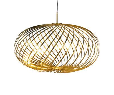 Luminaire - Suspensions - Suspension Spring Medium LED / Ø 79 x H 45 cm - Bandes d'acier modulables - Tom Dixon - Laiton - Acier inoxydable