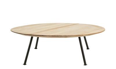 Mobilier - Tables basses - Table basse Agave / Ø 110 cm - Ethimo - Teck & noir - Métal laqué, Teck naturel