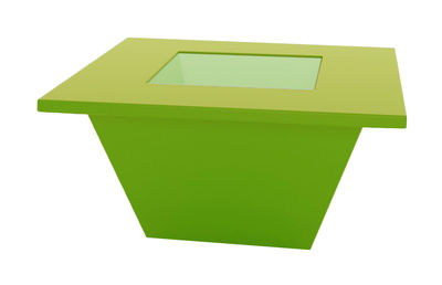 Mobilier - Tables basses - Table basse Bench / Plateau en verre - Slide - Vert - Polyéthylène recyclable, Verre