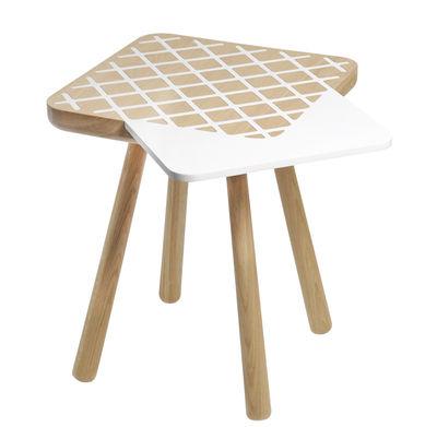 Mobilier - Tables basses - Table basse Les Biches / Square - 52 x 52 cm - Y'a pas le feu au lac - Bois naturel / Blanc - Chêne massif, MDF laqué