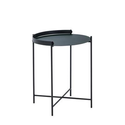 Mobilier - Tables basses - Table d'appoint Edge / Poignée rabattable -Ø 46 x H 53 cm - Houe - Vert Sapin / Noir - Métal thermolaqué