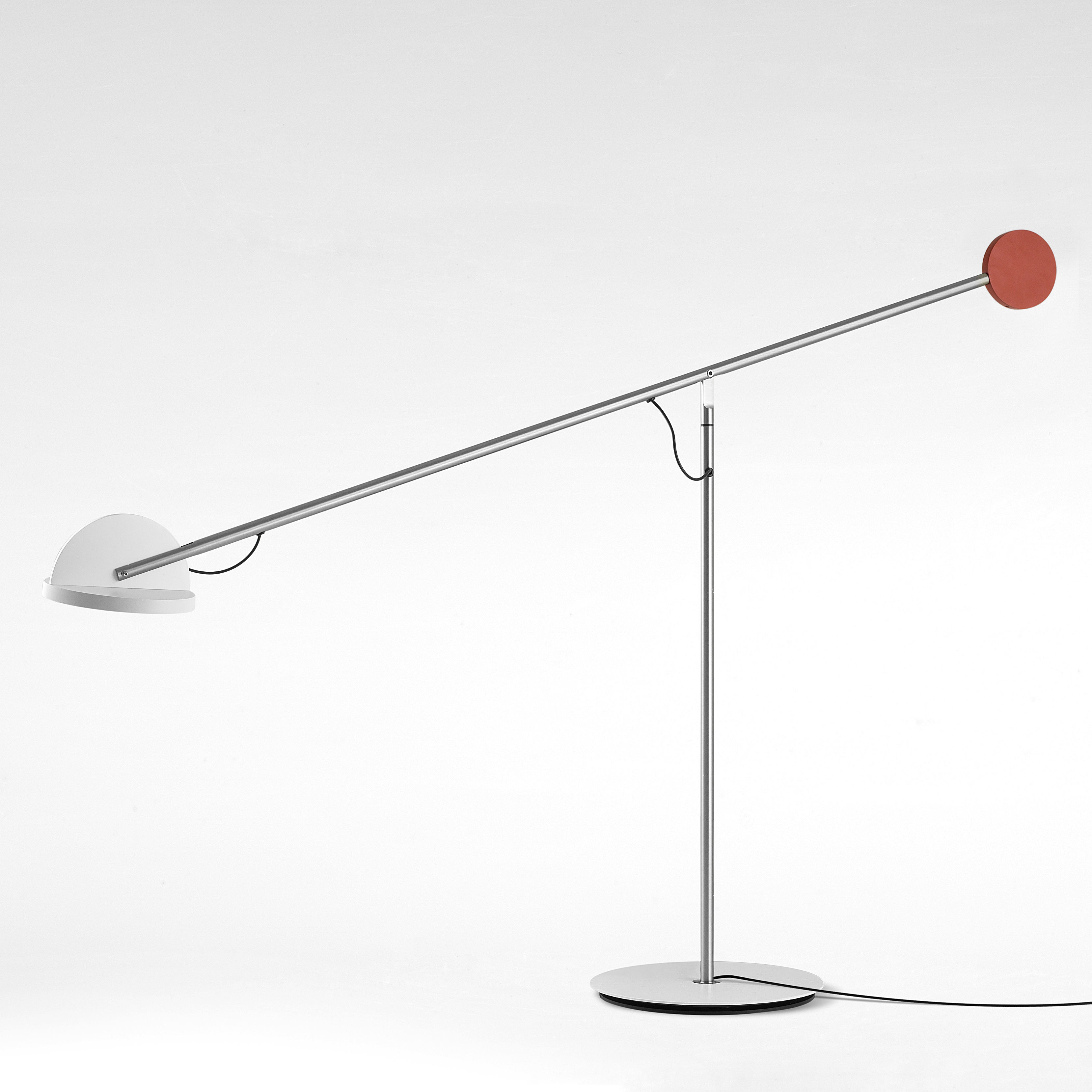 Lighting - Table Lamps - Copérnica Table lamp - / H 60 cm by Marset - Nickel / White & red - Aluminium, Nickel, Steel