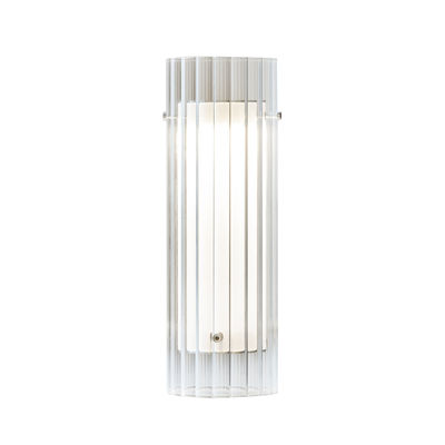 Lighting - Table Lamps - Lasospesa LED Table lamp - / Fluted glass - Ø 10 x H 30 cm by Fontana Arte - Transparent fluted - Borosilicated glass